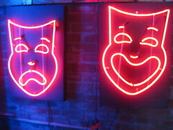 Vintage 1980's 𝐂𝐎𝐌𝐄𝐃𝐘 And 𝐓𝐑𝐀𝐆𝐄𝐃𝐘 𝐓𝐇𝐄𝐀𝐓𝐄𝐑 𝐌𝐀𝐒𝐊s Neon Signs