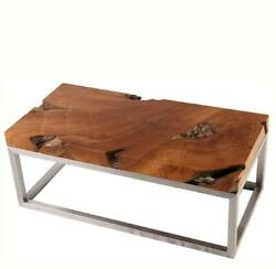 Solid Teak Top And Stainless Steel Base Coffee Table