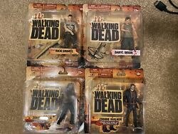 Walking Dead Action Figures Lot, Complete Series 1 And 2 In Original Packaging