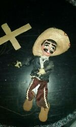 Vintage Hand Made Paper Mache Mexico Marionette Puppet On Strings