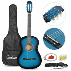Acoustic Guitar Beginners W/guitar Case Strap Tuner And Pick Steel Strings Blue