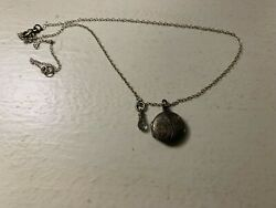 Vintage Silver Locket Necklace Wire Wrapped Mystic Gray Topaz Pendant Dangle