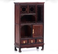 Small Rosewood Carved Chinese Miniature Display Cabinet Buddhist Altar Decor