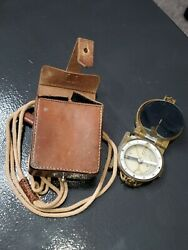 Wwii Japanese Soldier's Military Compass With Leather Case And Tassel