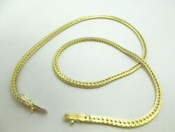14k Yellow Gold Wheat Link Chain Necklace Dia. Cut Italian 17.5 17.7g M543