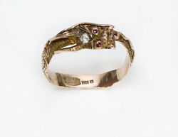 Antique Diamond Ruby Gold Chinese Dragon Ring