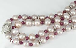 Graduated 6-10MM Pink Pearls 4.80 Carats Rubies Necklace With Cubic Zirconia