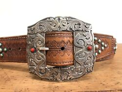 Mario Hanel Studded Leather Belt W/ Sterling Silver And Coral Buckle Western Vtg