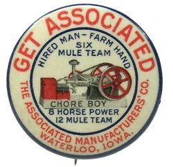 C.1900 Associated Chore Boy Hit And Miss Gas Engine Waterloo 1.5 Pinback Button