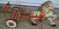 Mobo Pressed Steel Toy Pedal Ride On Horse W/ Cart Made In England Antique