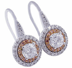 14k White Rose Gold Round Cut Diamonds And Pink Sapphires Earrings Halo 2.10ctw