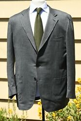 *ISAIA NAPOLI* DUSTIN Extra Light Flannel Gray Herringbone Patch Suit ITALY 44