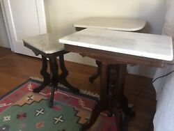 Antique Marble Top Tables - Set Of 3