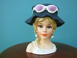 Vintage Lady Headvase Royal Crown Japan Handpainted #3411 Sunglasses 7