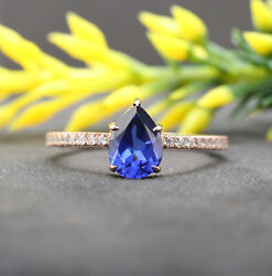 Blue Created Sapphire Pear Round Diamond Solitaire Gold Engagement Ring Kd770