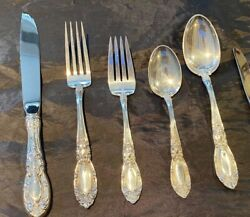 8 King Richard Sterling Silver 5 Piece Settings With The Large Heavy Oval Soups