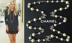 2020 White Pearl 5 Crystal Cc Top Classic 42 Long Dress Necklace Nwt