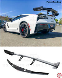 Zr1 Style Carbon Flash Rear Wing Spoiler And Bracket For 14-19 Corvette C7 Z06