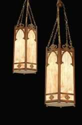 660 Pair Of 19th C. American Victorian Gothic Style Hanging Lanterns