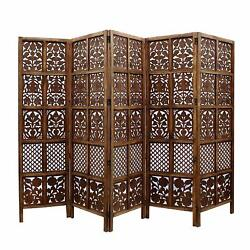 Indian Antique Furniture Handcraft Wooden Partition Screen Room Divider 5 Panels