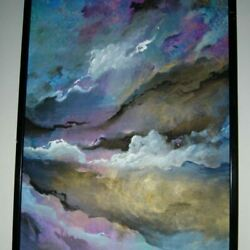 """1779 """"skyscapes"""" Oil On Canvas By Vance Larson A"""