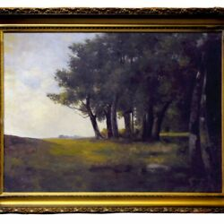 6092 Large 19th C. Oil On Canvas Landscape Painting Signed E.h. Meyer