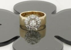 Vintage 14k Yellow And White Two Tone Gold Diamond Flower Engagement Ring