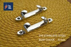 """316 Stainless Cleat Line Straight 5"""" Bow Chock 2 Pcs"""