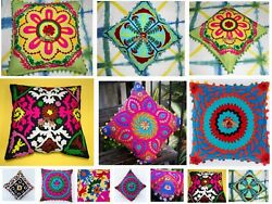 Indian 5 Pcs Suzani Cushion Cover Vintage Round Sofa 16 Embroidered Pillow Case