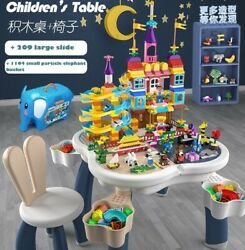 New Lego Storage Play Table And 1346pcs City Duplo Marble Run Big Size Generation
