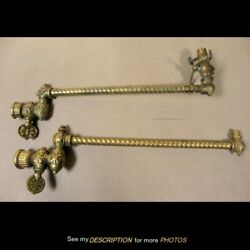 Pair Antique Gas Lamp Fixture Wall Sconces With A Rope Twist Shaft