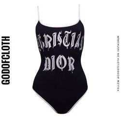Dior Gothic Black One-piece Tube Swimsuit
