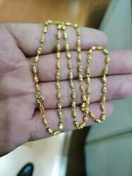 20inch Real 18k Yellow Gold Necklace For Women Male Beads Chain Necklace