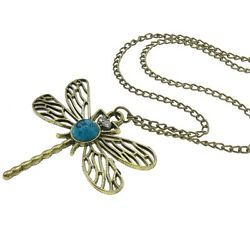 Wholesale Lot 8 Antiqued Brass Tone Dragonfly Necklaces Rhinestone Turquoise Cab