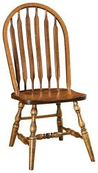 Set 2 Amish Country Farmhouse Windsor Side Chair Solid Wood Bent Paddle