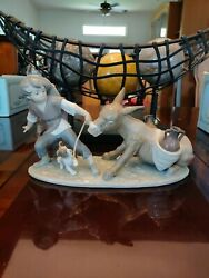 Rare Vintage Lladro Boy With Donkey And Dog 5178 - Mint Condition Comes With Box