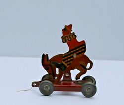 Antique American Toy And Manufacturing Co. Clown On Donkey Pull Toy Abilene Ks