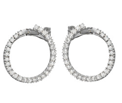 1.22ct Natural Round Diamond 14lk Solid White Gold Snap Closure Hoops Earring