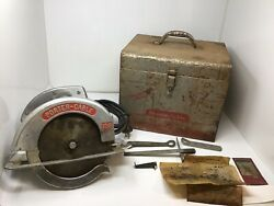 Vintage Porter Cable Model 108 8 Circular Saw W/ Case And Extras Tested Works