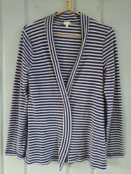 J Crew Womens Large Open Front Cardigan Shirt Lightweight Striped 64463 Nautical