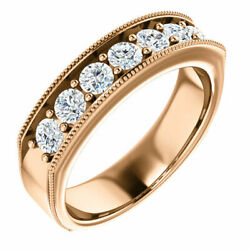 G-h Si2-si3 Diamond Menand039s Wedding Band In 14k Rose Gold 1.00 Ct. Tw.