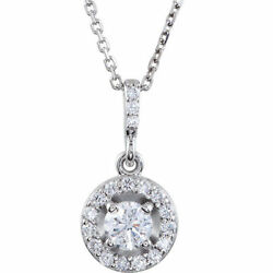 Diamond Halo-style 18 Necklace In 14k White Gold 1.00 Ct. Tw.