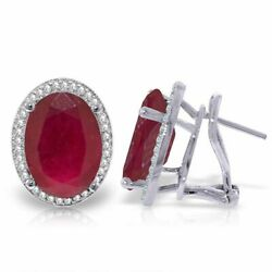 Genuine Red Rubies Oval Gemstones And Diamonds French Clip Earrings 14k Solid Gold