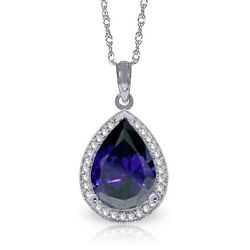 Genuine Sapphire Pear Cut Gemstone And Diamonds Necklace In 14k. Solid Gold