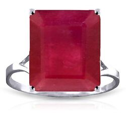 Genuine Ruby 7.5 Ct Emerald Cut Gem Solitaire Ring 14k. Yellow White Rose Gold