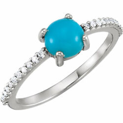 Cabochon Turquoise And 1/8 Ctw Diamond Ring In Platinum