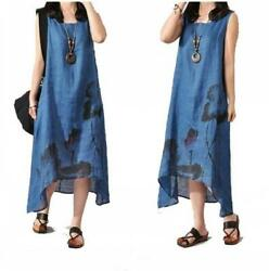 Summer Women Chinese Ethnic Ink Painting A-line Dresses Sleeveless Maxi Loose Bw
