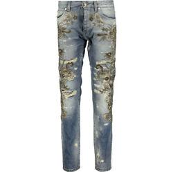 7870 Dolce And Gabbana Runway Baroque Distressed Embellished Jeans-made In Italy