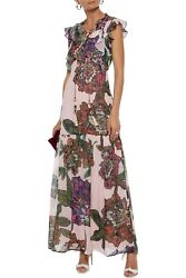 RRP €380 BADGLEY MISCHKA Maxi Dress Size 16 Floral Tassel String Lace-Up Front