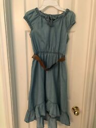 NWOT Dollhouse Chambray Dress With Belt Hi Lo Size 14-16 Adorable 💙 $25.00